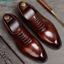QYFCIOUFU Mens Formal Shoes Genuine Leather Oxford Shoes For Men Italian 2019 Dress Shoes Wedding Shoes Laces Leather Brogues