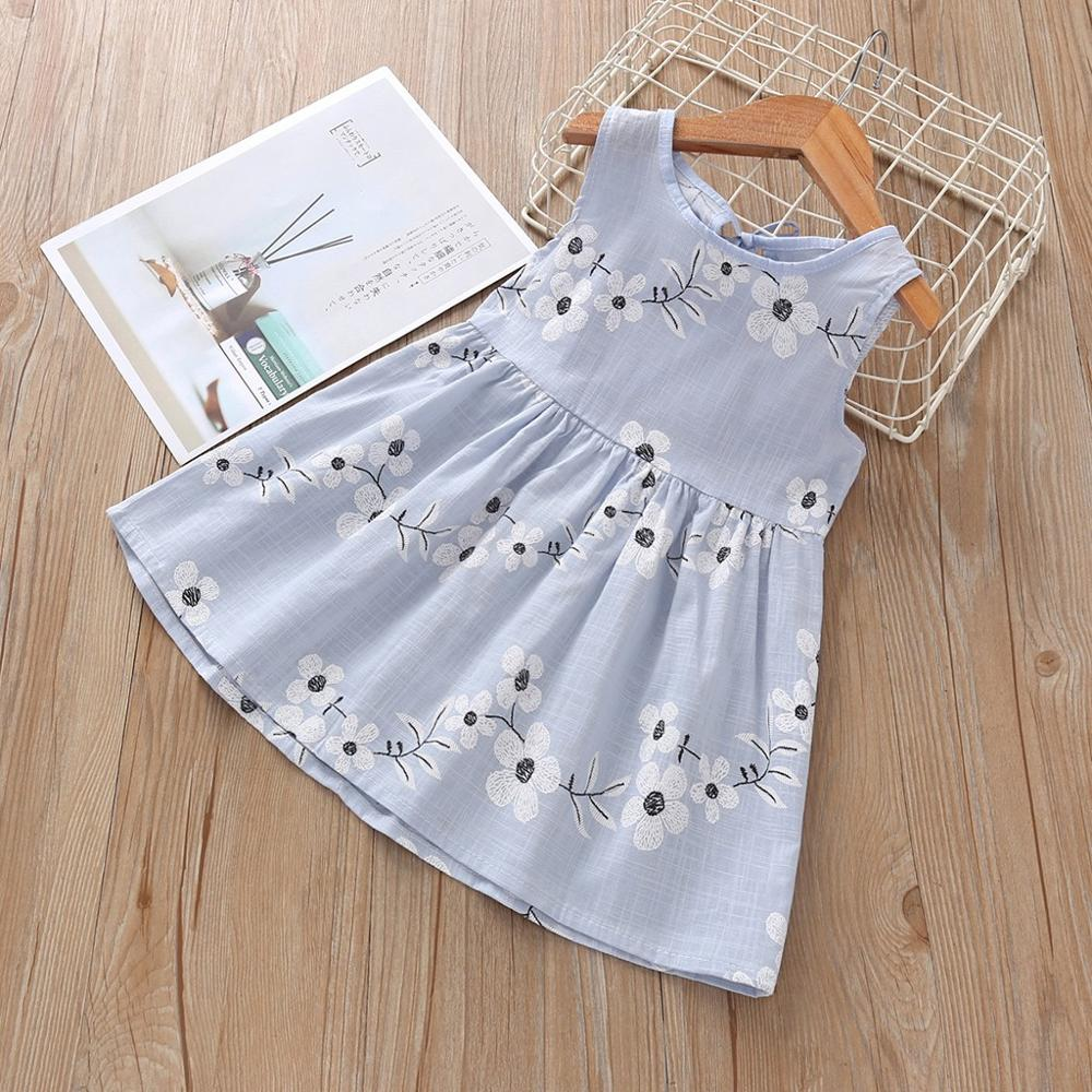 Girl's Sweet Dress Fashion Wild Baby Kids Girl Sleeveless O-neck Flower Print Solid Color Dress Princess Dresses Summer New 2020