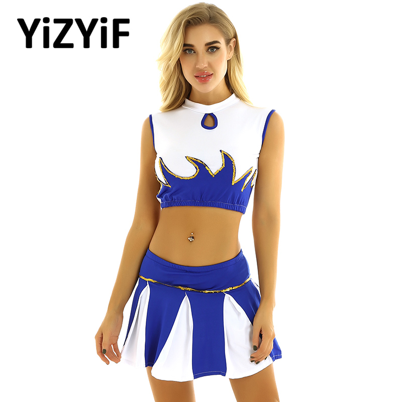 Women Cheerleader Costume Rave Outfit Jazz Dance Costume Mock Neck Sleeveless Crop Top With Pleated Skirt Cosplay Costume
