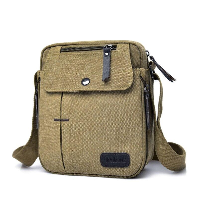 Men Solid Color Shoulder Messenger Pack Multi-pocket Canvas Crossbody Bag Purse