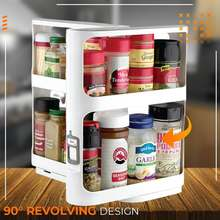 Multi-Function Storage Rack Tool Double Layer Rotating Home Kitchen Seasoning Spice Organizer Rack Box Accessories