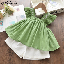 Melario Cute Girls Clothing Sets Girls New Brand Girls Clothes Kids Clothing Sets Sleeveless Casual T-Shirt + Short 2Pcs Suits cheap Fashion Turn-down Collar Belt AY265-H Polyester Stretch Spandex Butterfly Sleeve Fits true to size take your normal size