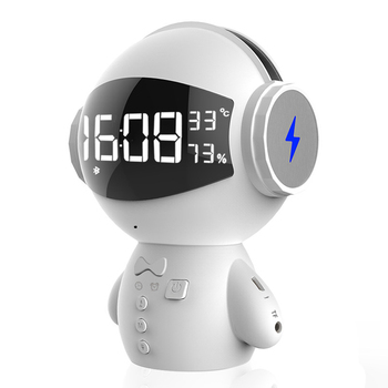 Mini Portable Cartoon Robot Bluetooth Speakers Wireless Receiver Speaker Stereo Music Player Home Office with Alarm Clock TF Car