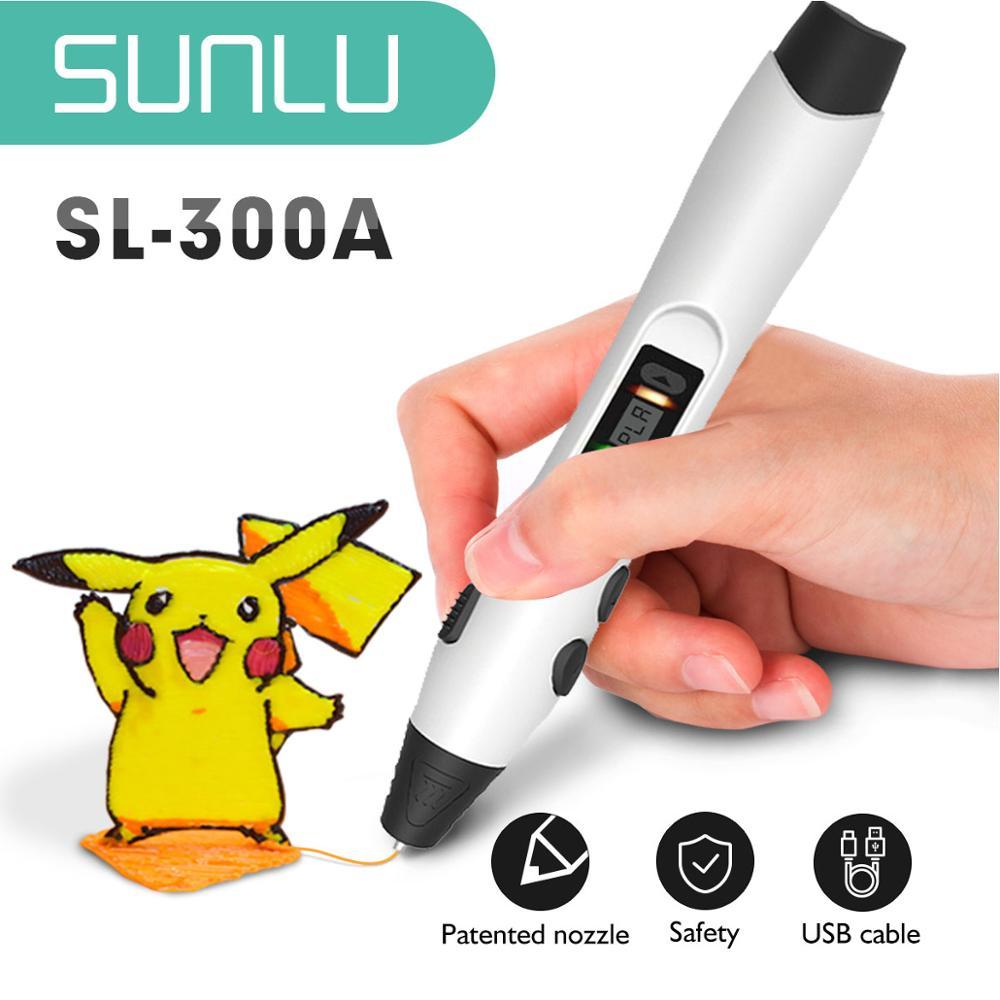 SL-300A 3D Printing Pen 4 Colors With 10m/10rolls PLA Filament 1.75mm Children Dooling 3D Pens Low Teperature Gift Box Set