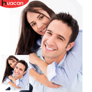 HUACAN Oil-Painting Pictures Diy-Kits Drawing Canvas Photo By Numbers Portrait Family