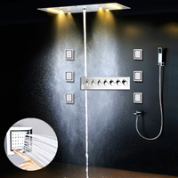 2019 Luxury Recessed Ceiling Large Rainfall Massage 4 functions Showerhead Column Misty Waterfall LED Thermostatic Mixer Set