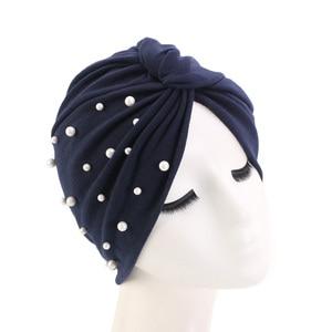 Image 3 - New Muslim Women Pearl Beading Elastic Turban Hat Cancer Cap Head Wrap cotton twist Chemo Cap Beanie Hijab Caps Headwear