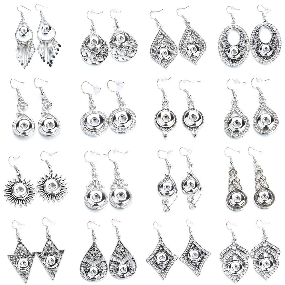 Модные ювелирные изделия, мини-серьги с кнопками-застежками, подходят для 12 мм, металлические висячие серьги с кристаллами для женщин