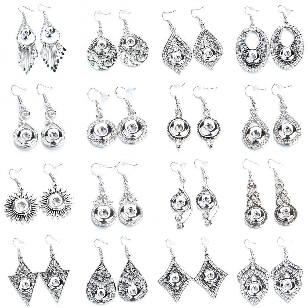 Fashion Snap Jewelry Mini Snap Buttons Earrings Fit 12mm Snap Button Metal Crystal Dangle Earrings For Women image