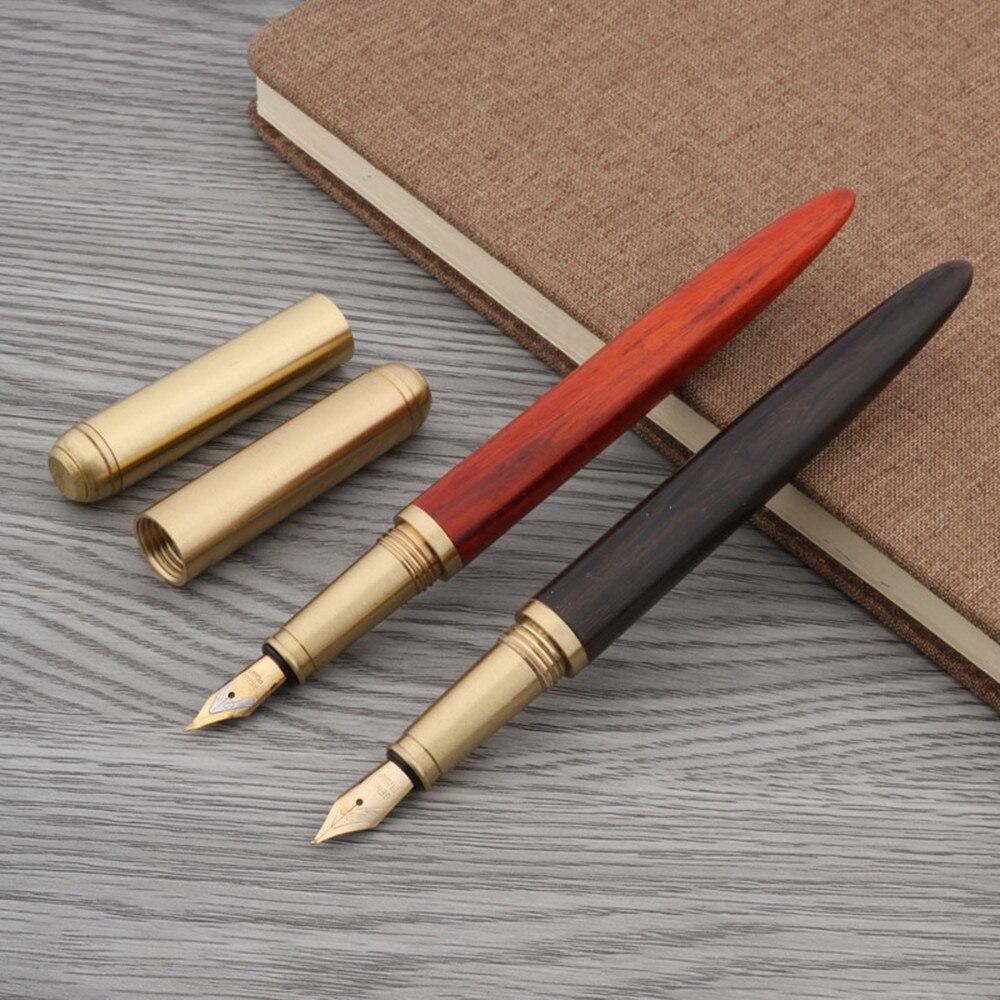 High Quality Brass Ebony Red Tan Wooden Gift Golden Medium Nib Fountain Pen