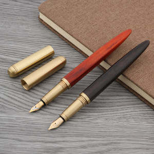 High Quality brass Ebony Red Tan Wooden gift Golden Medium Nib Fountain Pen(China)