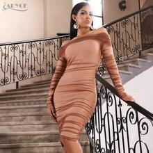 Adyce 2019 yeni sonbahar kadınlar zarif dantel ünlü akşam parti elbise seksi uzun kollu haki Midi Bodycon kulübü elbise Vestidos