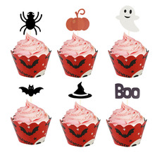 12pcs/set Bat spider skull Cake Topper for Halloween Party Decoration Kid Baking Cookies Cake Decorating Suplies Cupcake Toppers decorating cookies party