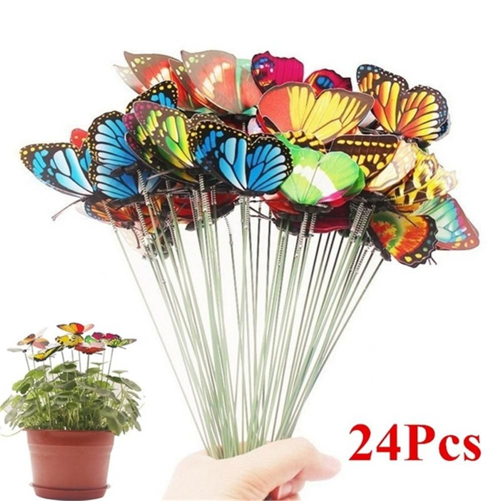 24pcs/Bunch Butterflies Garden Yard Planter Colorful Whimsical Butterfly Stakes Decoracion Outdoor Decor Flower Pots Decoration