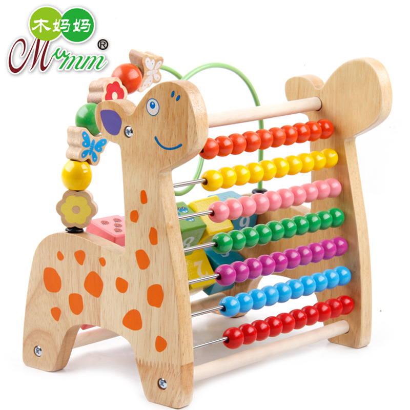 Wooden Toy Multi-functional Solid Color Deer Around The Bead Calculation Frame Children's Educational Beaded Bracelet Early Educ
