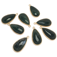 LE SKY Water Drop Shape Natural Stone Pendant & Necklace Charms Pendants for Jewelry Making Optional Stain Steel Leather Chain