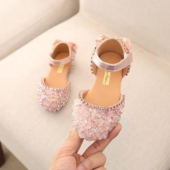 SKHEK Sandals for Girls Summer Children Kids Baby Bowknot Crystal Princess wedding shoes