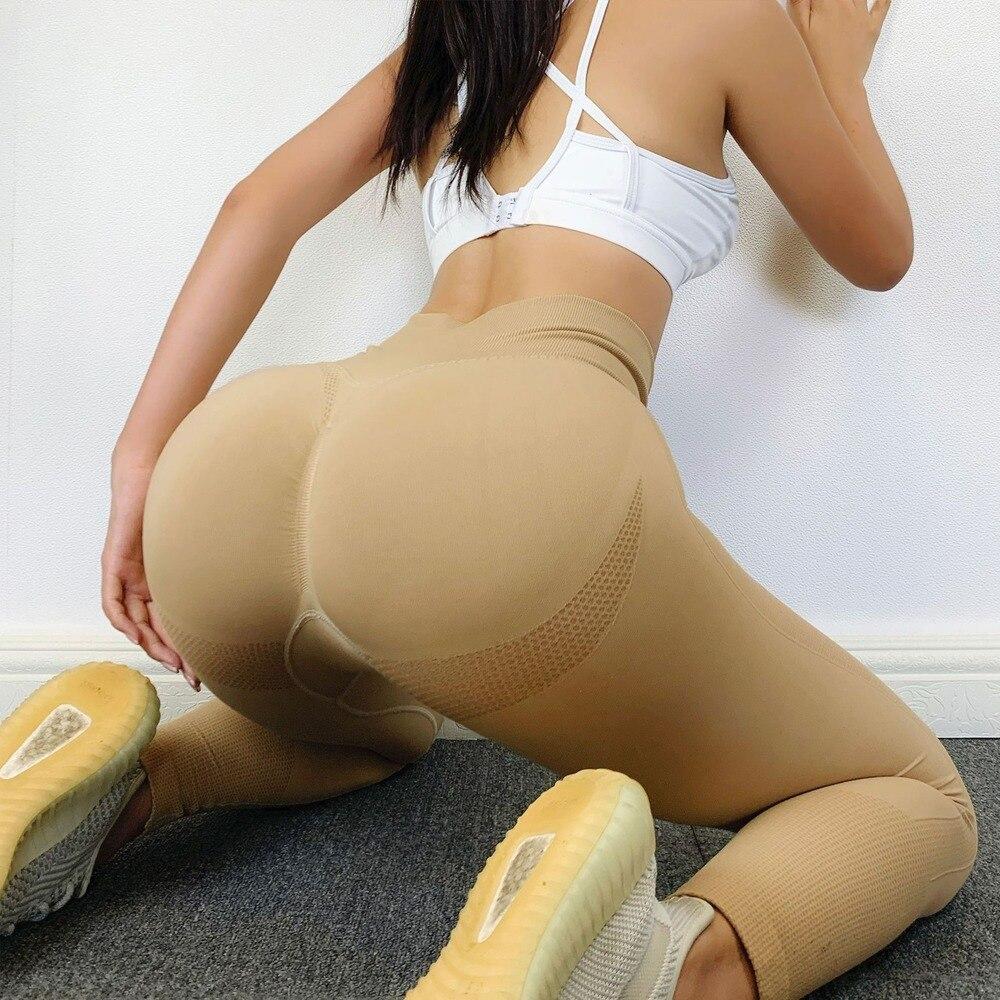13%Spandex Fitness Leggings High Waist Sexy Pants for Women Bubble Butt Seamless Leggging Push Up  2020 3