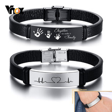 Vnox Customized Leather Bracelets for Men Women,12mm Stainless Steel ID Bangle, Personalized