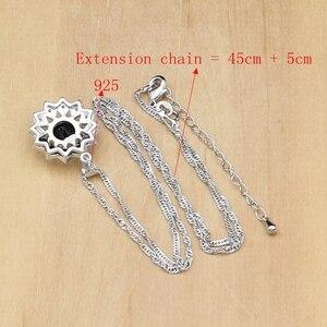 Image 5 - Siyah taş beyaz CZ takı setleri 925 gümüş gelin takı kadınlar için parti küpe/kolye/yüzük/bilezik/Kolye seti