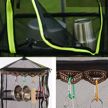 Outdoor Folding Drying Net Camping Four-Tier Storage Basket Storage Net Basket Fishing Drying Fish Drying Vegetable Drying Rack фото