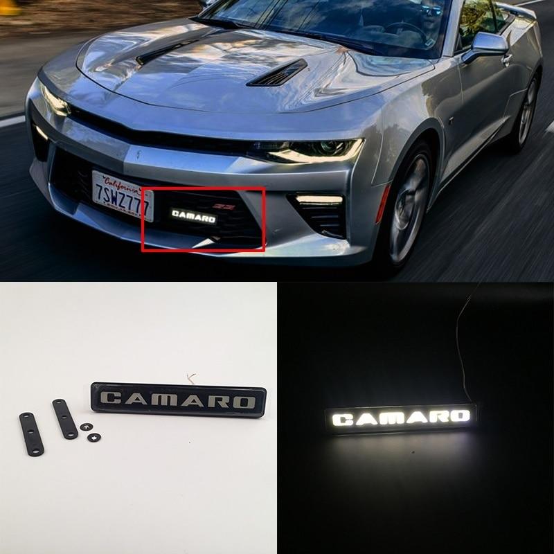Car Styling Camaro Corvette Badge Emblem DRL Day Running Light Front Hood Grill Grille Bonnet Led Logo Light Lamp