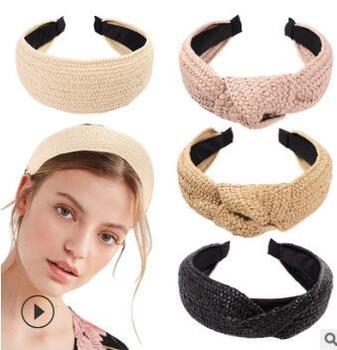 60pcs/lot DIY Simple Multi Straw Braid Widen Headbands Mix Styles Cross Tie A Knot Hair Band Styling Tools Accessories HA701