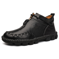New Autumn Early Winter Boots Men Genuine Leather Shoes Men Casual Shoes Cow Leather Male Footwear Man Ankle Boots Black A1743