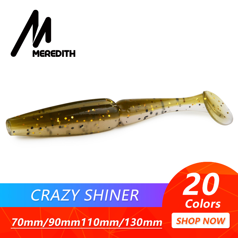 Meredith Crazy Shiner Fishing Lure 70mm 90mm 110mm 130mm Soft Baits Wobbler Bass Bait Artificial soft Tacke