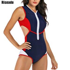 Image 1 - Riseado Patchwork One Piece Swimsuit Female Cut Out Swimwear Women Sport Rash Guards Swimming Surfing Summer Beachwear