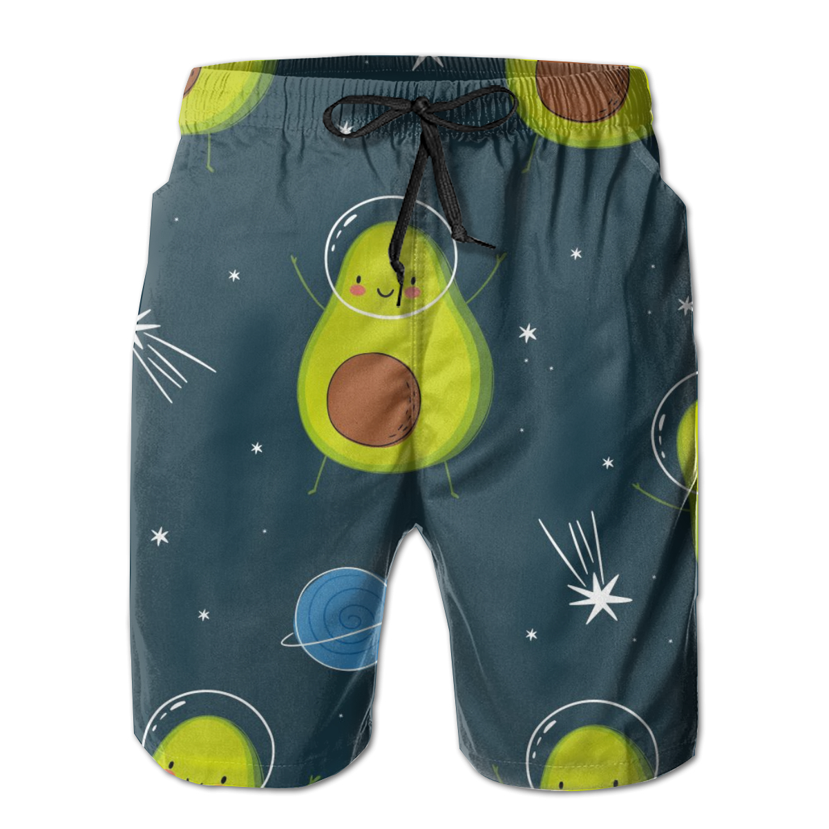 Mens Swimwear Swim Shorts Trunks Avocado Cartoon Beach Board Shorts Swimming Swimsuits Mens Running Sports Surffing shorts