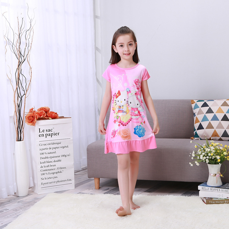 2017 New Products Children Pink Nightgown Spring Summer Crew Neck Short Sleeve Casual Thin Tracksuit Nightgown