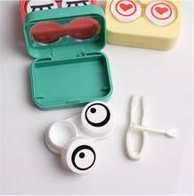 1Pc Leuke Cartoon Contact Lens Case Box Holder & Accessoires + Oplossing Fles + Pincet + Stok Verbinding + lensholder + Spiegel