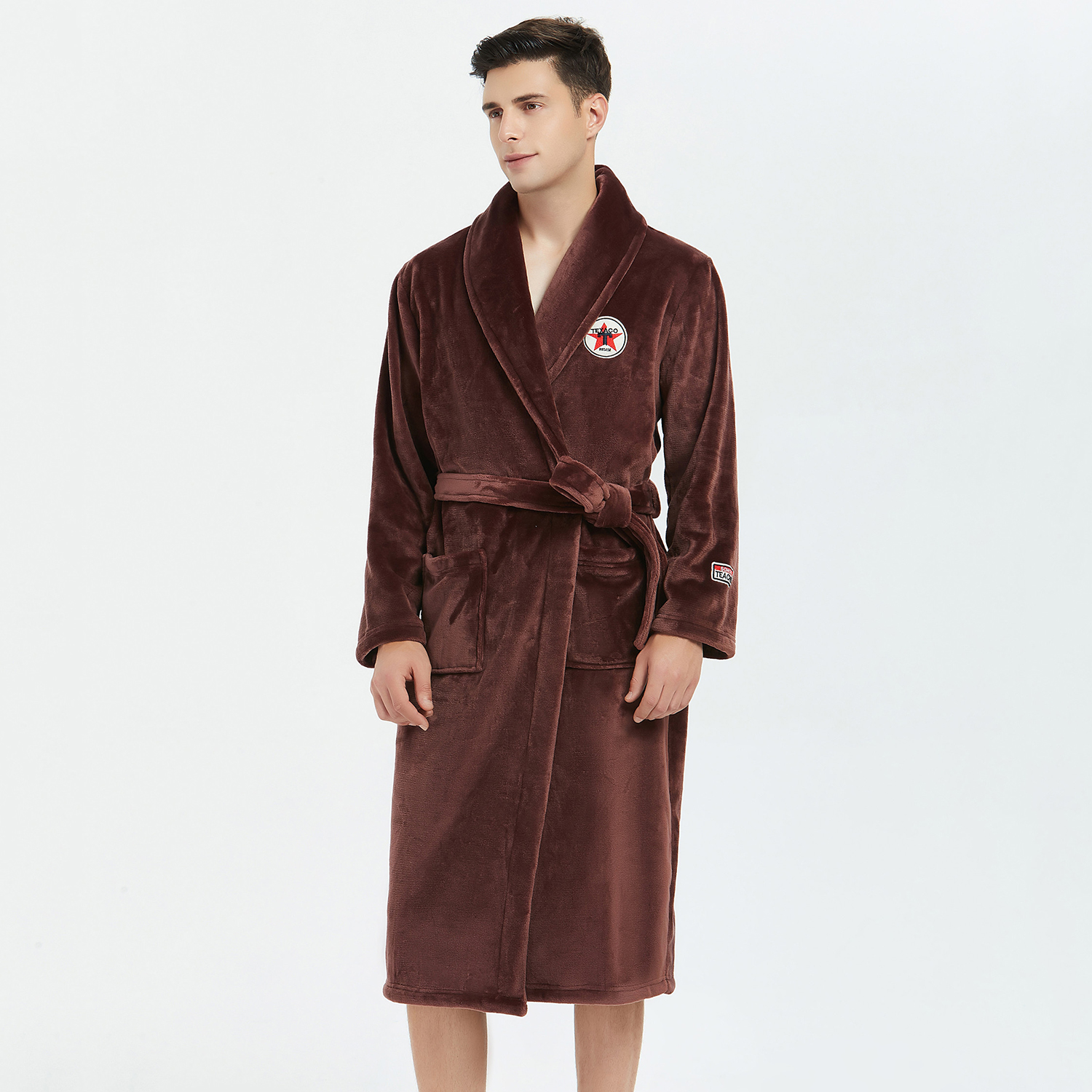 Casual Belt Bathrobe Gown Homewear Winter Keep Warm Men Robe Kimono Gown Sleepwear Flannel Nightwear Nightgown Soft Nightdress