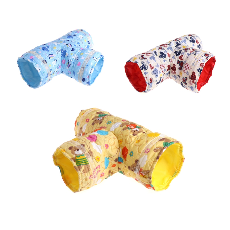Hamster Toy Tunnel Small Pet Cartoon 3 Way Pet Tubes Bed Nest For Rabbits Ferrets Guinea Pigs