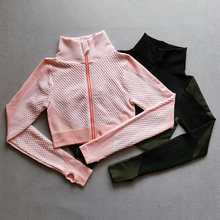 Seamless Long Sleeve Yoga Tops Women Sports Top Fitness Gym  Zipper Workout Shirt Crop Tops With Thumb Hole Running Sports Wear