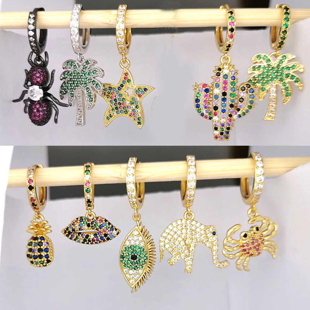 Small Hoop Earrings Women CZ Rainbow Jewelry Gold Silver Color Pineapple Star Cactus Evil Eye Elephant Tree Hoops Earring Indian