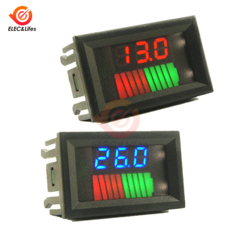 12V 24V Car Lead Acid Battery Charge Level Indicator 10 Segments Lithium Battery Capacity Tester Meter Dual LED Voltmeter Kits image