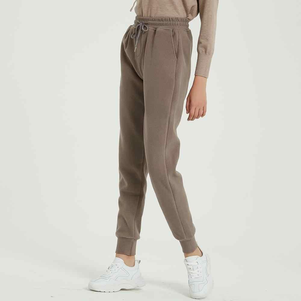 Wixra kadınlar rahat kadife pantolon sonbahar kış bayan kalın yün pantolon kadın giyim dantel-up uzun pantolon
