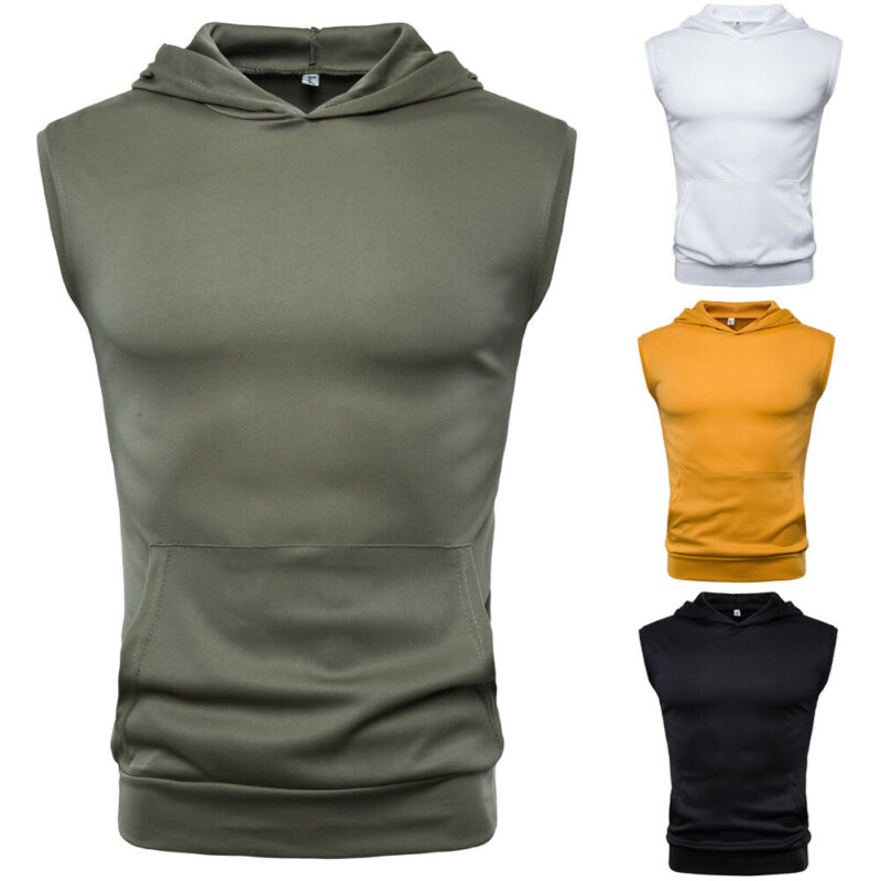 Mens Fitness Muscle Shirt Sleeveless Hoodie Top Bodybuilding Gym Tops Vest Workout T-shirt
