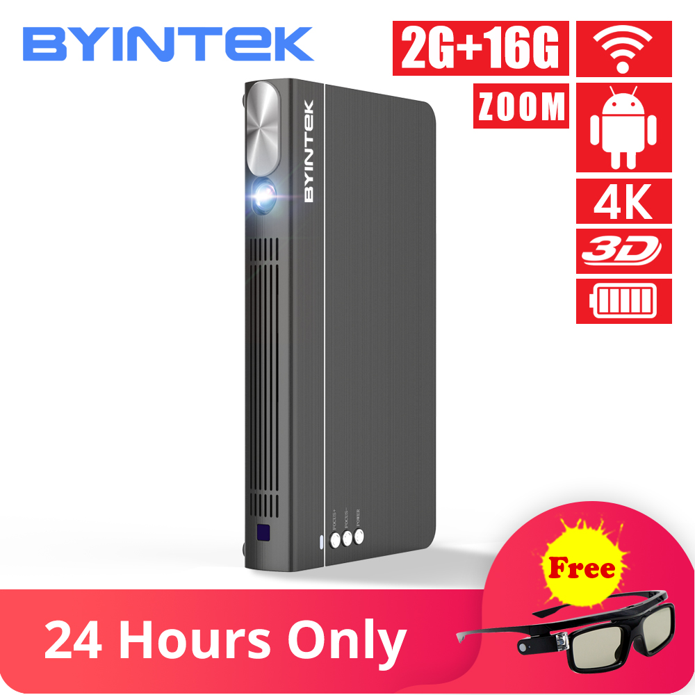 BYINTEK UFO P12 300 polegada 2019 Mais Novo Inteligente 3D Bolso Pico Full HD 4K 5G WI-FI Android HD portátil Micro Mini LED Projetor DLP