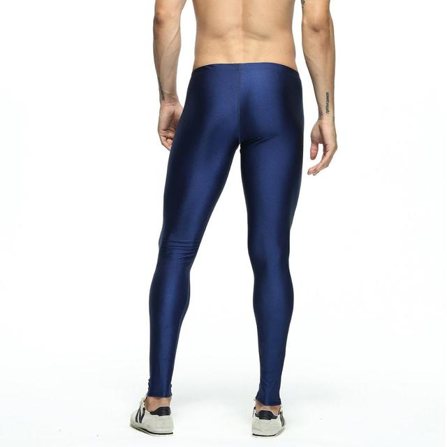 Sexy casual Compress Fitness Long Johns Shapewear Men's Stretch Workout Nylon solid Silver Tights Lounge Pants Home and Out Door 3