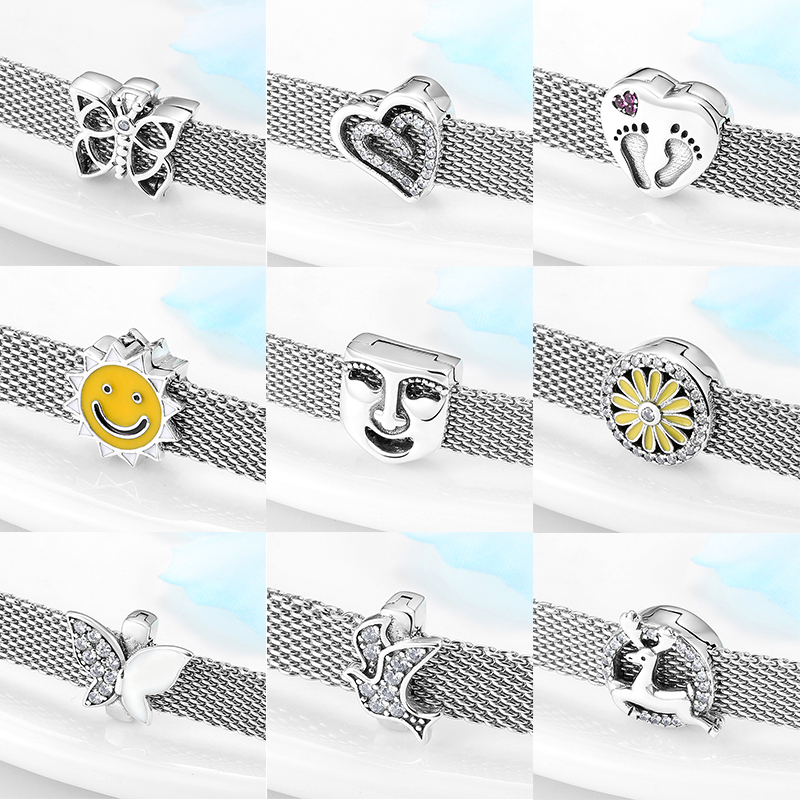 2020 Top Quality 925 Sterling Silver Butterfly Flower Heart Clip Beads Fit Original Reflexions Bracelet Charms Jewelry Making