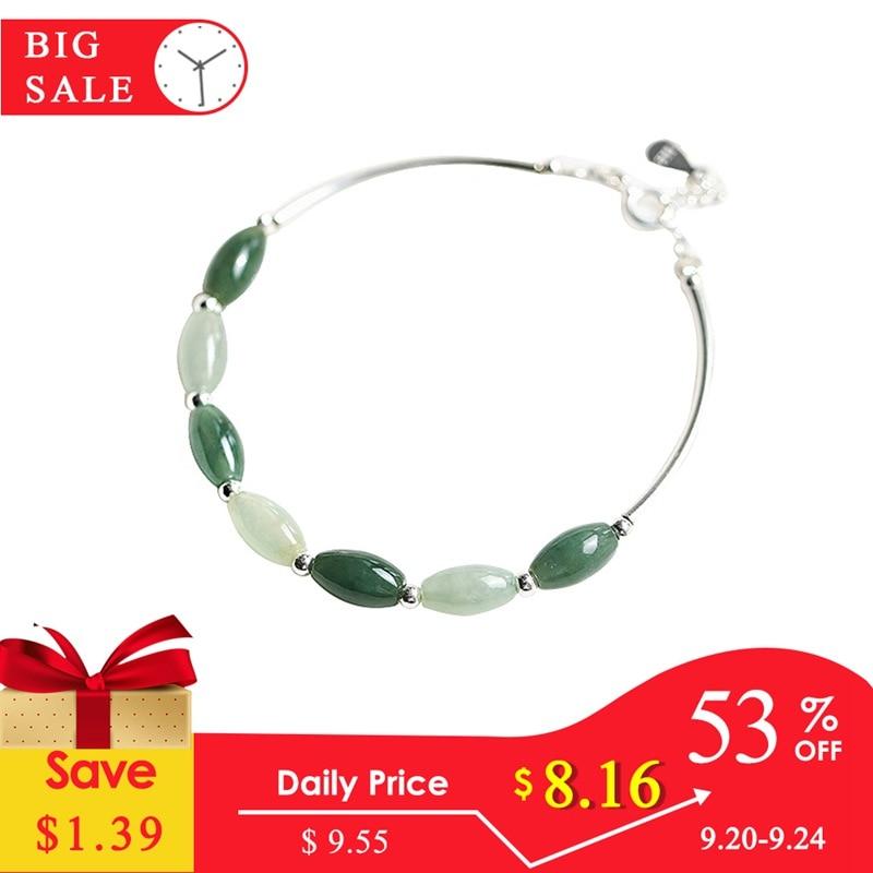 Ruifan 925 Sterling Silver Bracelets Ladies Natural Green Jade Oval Waterdrop Lucky Bead Charms Women's Bracelet Jewelry YBR098