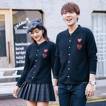cardigan  CDG  Lover  autumn Winter Lapel  Cashmere knitted cardigan     Men's and women's Loose blue Lovers' love shirt