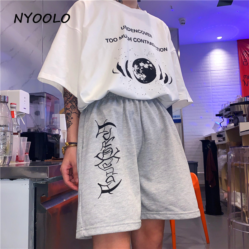 NYOOLO Casual Streetwear Simple Letters Print Loose Shorts Women Men Summer Elastic Waist Hip Hop Jogger Shorts