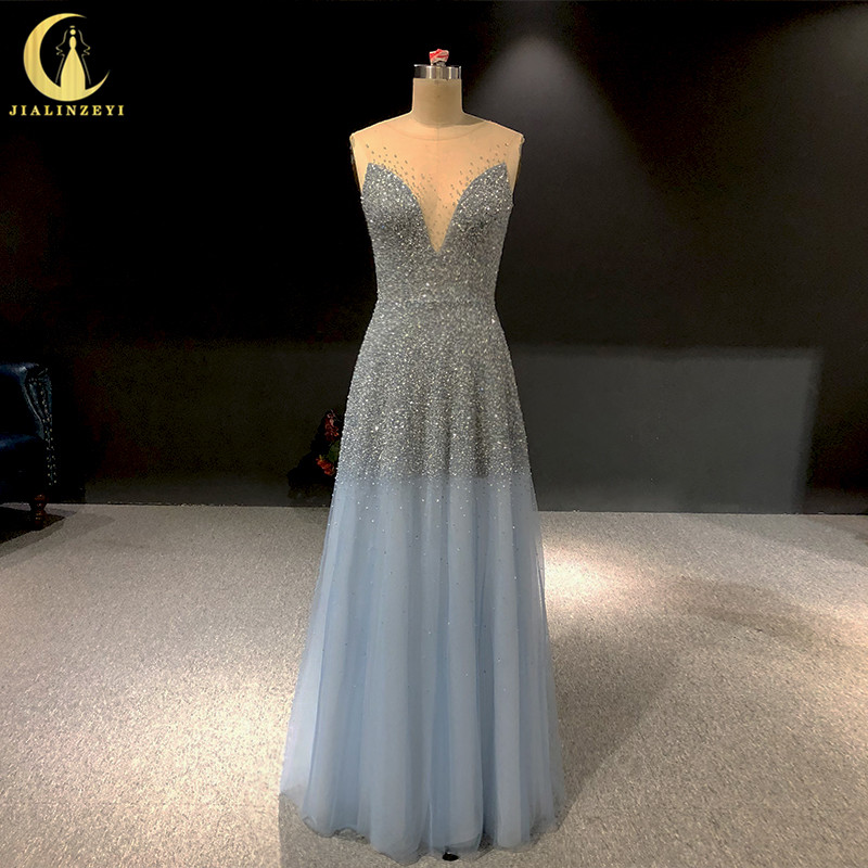 Rhine real Pictures sexy Crew Neck Beads V Back Floor Length Grey Blue evening dresses long