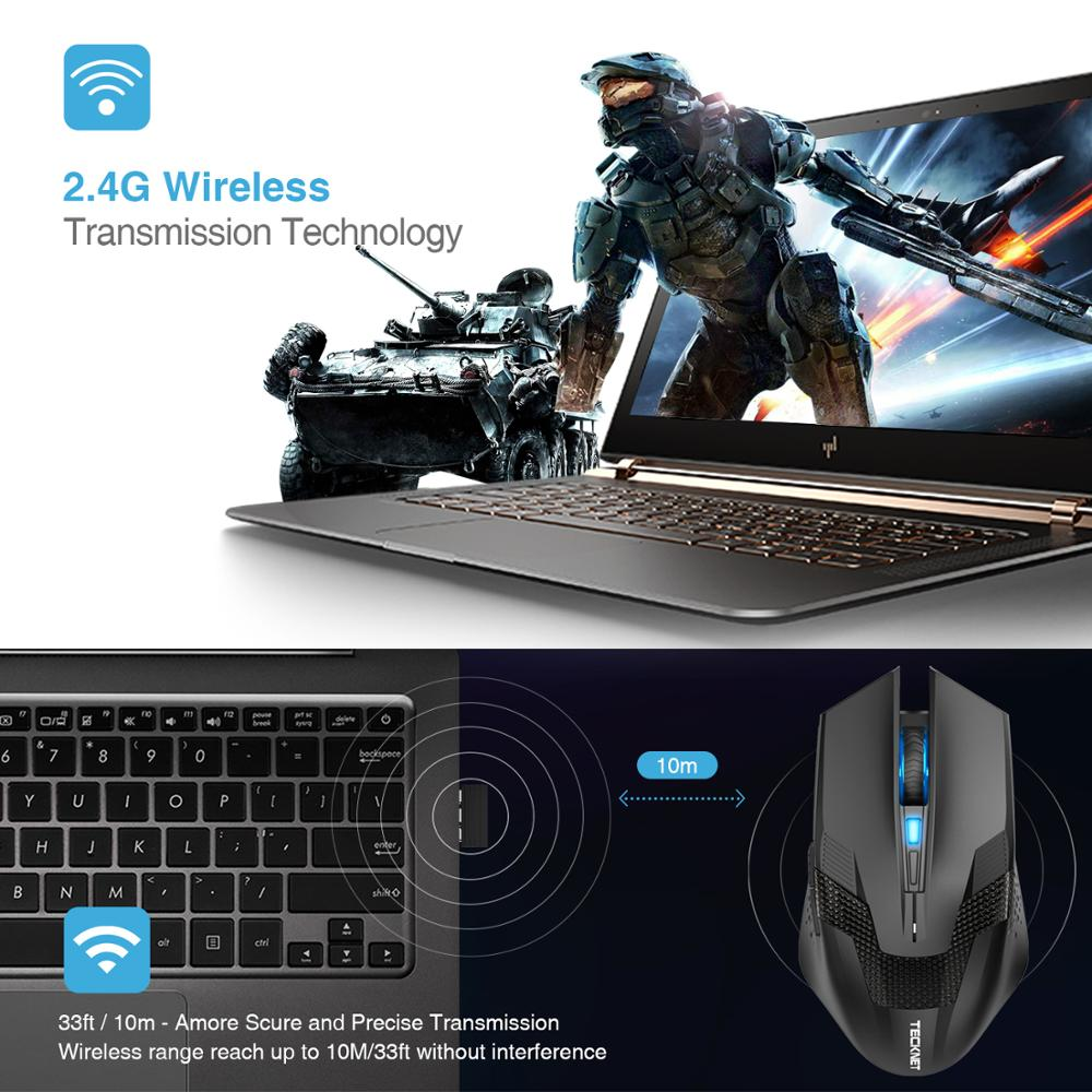 Image 3 - TeckNet 4000DPI Optical Ergonomic Wireless Gamer Mice Computer Wireless Gaming Mouse Mini USB Mouse Gamer For PC Laptop-in Mice from Computer & Office