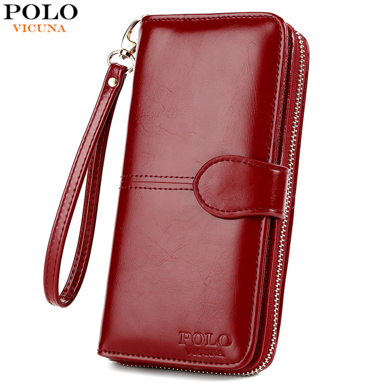 VICUNA POLO Top Sale Waxy Oil Leather Wallet For Women High Capacity Ladies Leather Card Holder Wallet Long Clutch Wallet Female