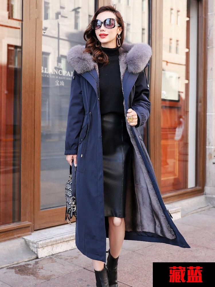 Fur Real Parka 2020 Winter Jacket Women Natural Rabbit Fur Liner Long Coat Female Fox Fur Collar Warm Parkas 4xl MY3612 S